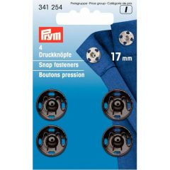 Prym Annäh-Druckknopf Messing 17mm schwarz - 5x4Stk
