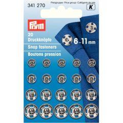 Prym Annäh-Druckknopf Messing Sort. 6-11mm - 5x20Stk