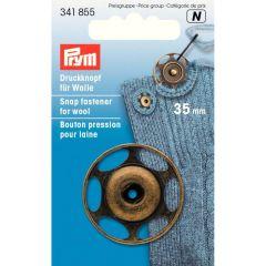 Prym Annäh-Druckknopf für Wolle 35mm altmessing - 5Stk