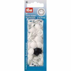 Prym Druckknopf Color Snap Blume 13,6mm weiß - 5 Stück I