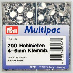 Prym Hohlnieten für Materialstärke 4-6/6-9mm MS silberf. -1 Stk.
