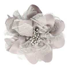 Prym Brosche Blume 10cm grau-silber - 3Stk