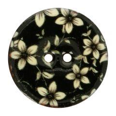 Knopf Kokos Blume  schwarz-weiß  - 40 Stück