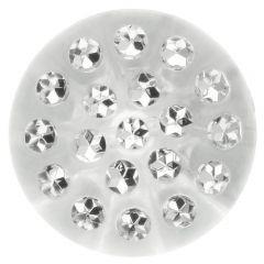 Knopf transparent mit Steinchen - 30-50 Stück