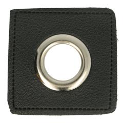 Ösen auf schwarzem Kunstkleder 14mm - 50Stk