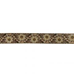 Gewebtes Band 33mm schwarz mit Blumen silber und gold - 25m