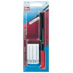 Prym Markierstift mit 24 Wäscheetiketten roter Stift - 5Stk