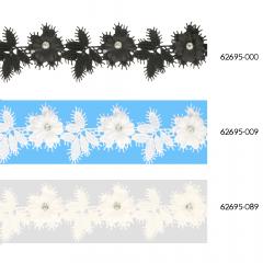 Spitzenband Blumen mit Blättern und Strass 43mm - 13,7m