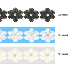 Spitzenband Einzel-Blume mit Strassstein 25mm - 13,7m