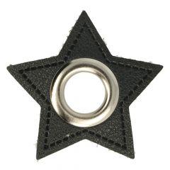 Ösen auf schwarzem Kunstleder Stern 11mm - 50Stk