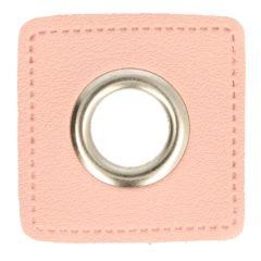 Ösen auf rosa Kunstleder Quadrat 11mm - 50Stk