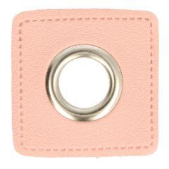 Ösen auf rosa Kunstleder Quadrat 14mm - 50Stk