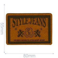Kunstleder Label Style Jeans 80x55mm - 5Stk - 01