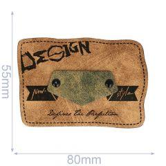 Kunstleder Label Design 80x55mm - 5Stk