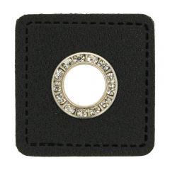 Ösen Diamanten schwarzes Kunstleder Viereck 8mm - 50Stk
