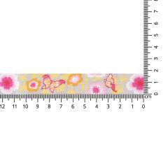 Gewebtes Band Schmetterlinge-Blumen 17mm - 25m