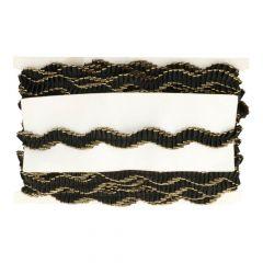 Satin-Rüschenband mit Goldkante - 12,5m