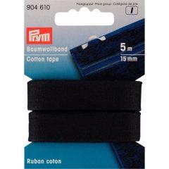 Prym Baumwollband 15mm schwarz - 5 Stück I