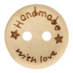 Holzknopf Handmade with Love Größe 24-32 - 50Stk