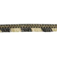 Fransenband mit Perlen schwarz und hell gold - 20m