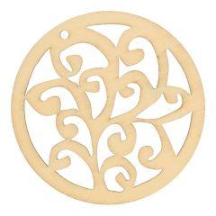 Holz Ornament Schnörkel 7 cm - 10 Stück