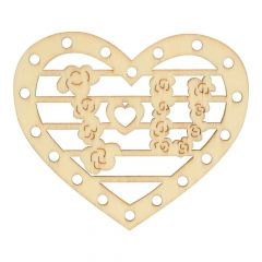 Holz Ornament Herz 7 cm - 10 Stück