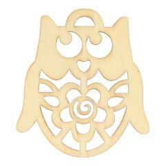 Holz Ornament Eule 6 cm - 10 Stück