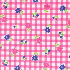 Tissu de Marie Stoff Blumen und Karo 1.50m - 10m
