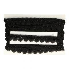 Spitzenband Perlen in hell off-white und schwarz - 12m