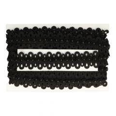 Spitzenband Perlen hell off-white und schwarz - 13.7m