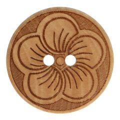 Knopf Holz mit Blume Größe 32-40 - 50Stk