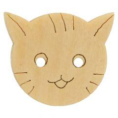 Knopf Katze Holz gelasert - 50 Stück