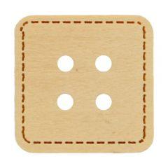 Knopf Viereck mit Stickrand - 50 Stück
