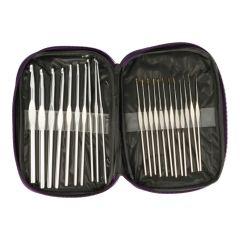 Häkelnadeletui mit 22 Nadeln gefüllt - 0.6 bis 8.0mm - 4 Set