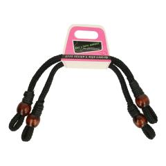 Taschengriff gedrehte Wachskordel mit Perle- 3Stk. - schwarz