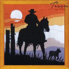 Tissu de Marie Stickpackung Cowboy Sunset 30x30cm - 1Stk