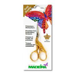 Madeira Stickschere Storchendesign gerade vergoldet 9cm -1St